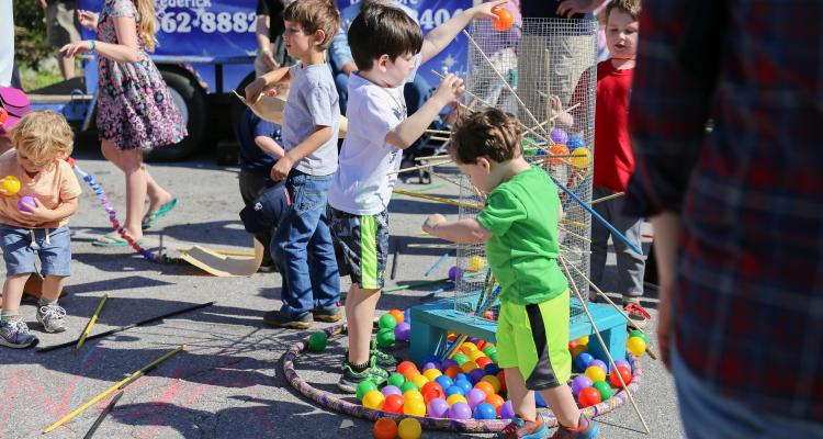 Kids playing at Spring Fest in Old Ellicott City