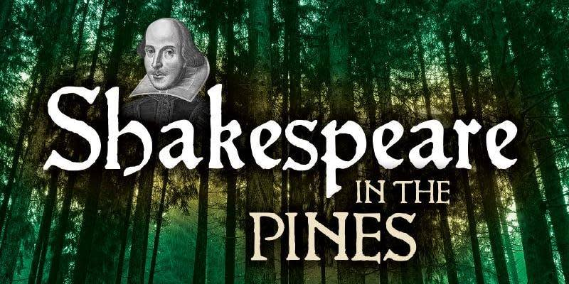 Shakespeare in the Pines logo over image from Saratoga Spa State Park