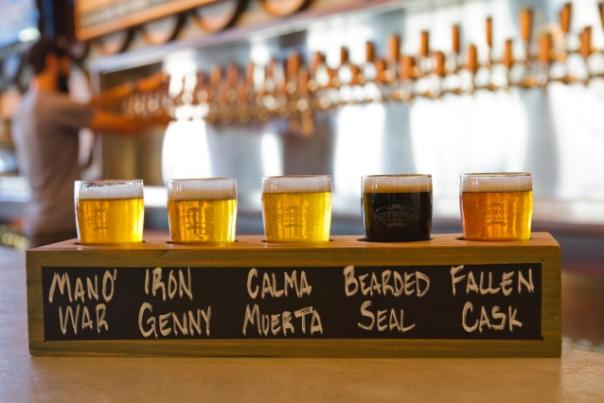 Beer flight at Pinthouse Pizza. Courtesy of Pinthouse Pizza.