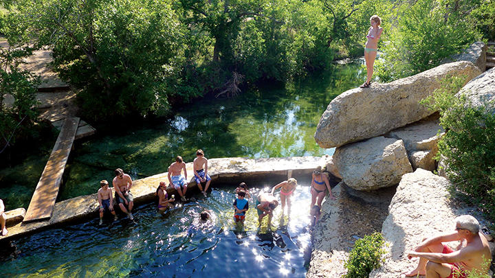 Cliff jumping at Jacobs Well