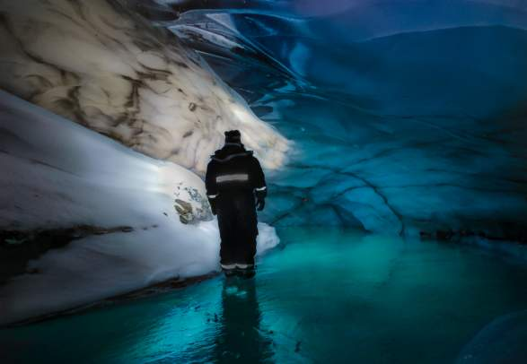 Isgrotte med hund - Svalbard Husky
