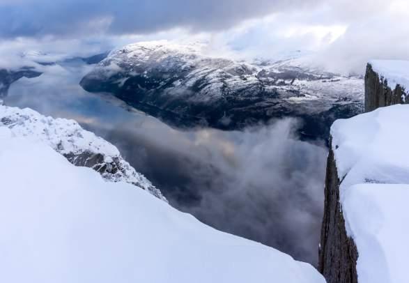 Guided Preikestolen Winter / Spring Cruise & Hike (premium day-trip)