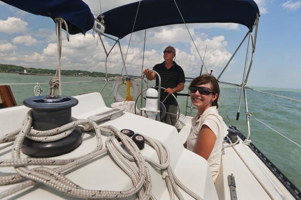 2 people Boating Lake Erie