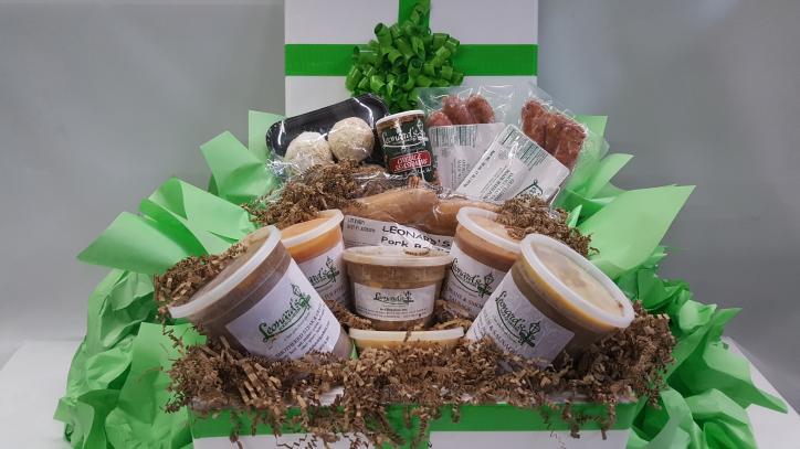 Leonard's Gourment Cajun gift basket ordered from Lake Charles, Louisiana.