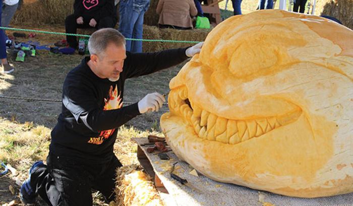 Cowtoberfest pumpkin carving