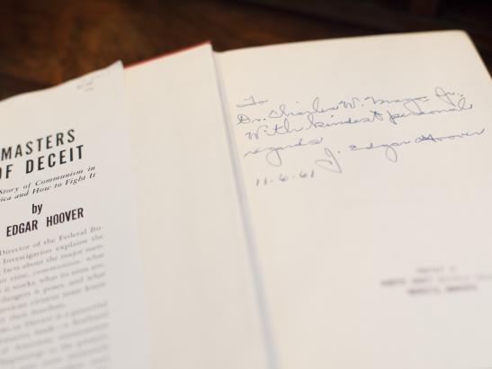 Hand signed book by J. Edgar Hoover | credit olivejuicestudios.com