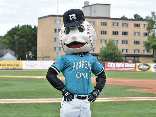 Slider, a fixture at the games | credit Rochester Honkers Baseball