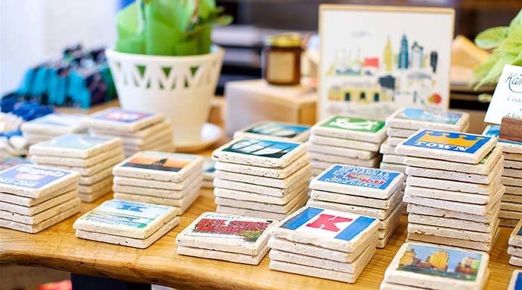 A display of coasters at Made in KC in Overland Park