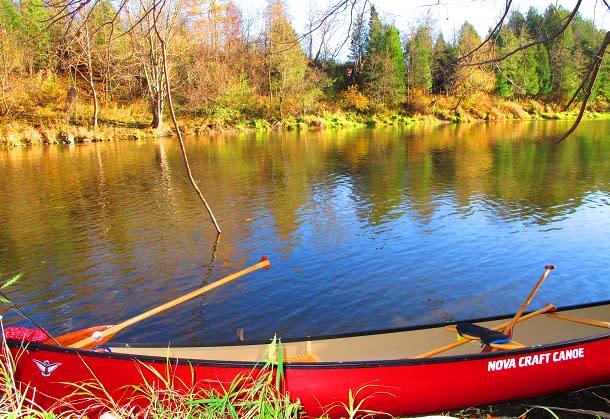 Canoe on waters edge