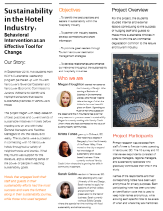 BCIT Sustainable Business Leadership - Behaviour Change in Hospitality Report