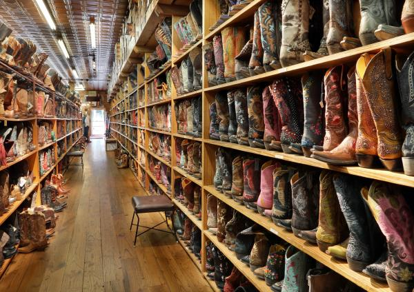 Rows of Western boots at Allens Boots on South Congress