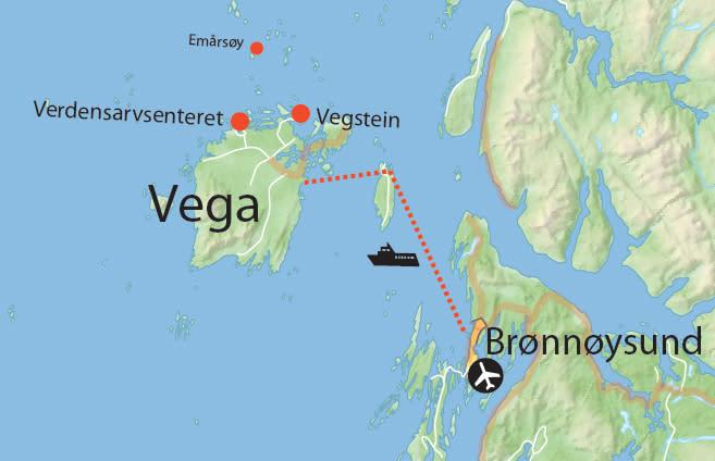 Kart: 2 dagers padletur på Vega