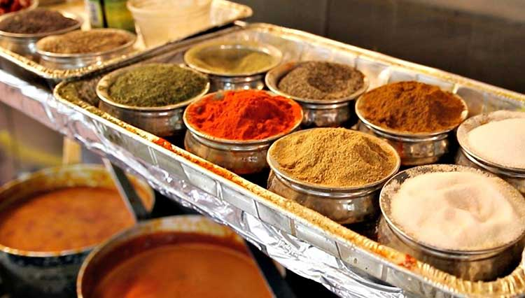 Assorted spices at Kulture Kurry Indian restaurant in Overland Park