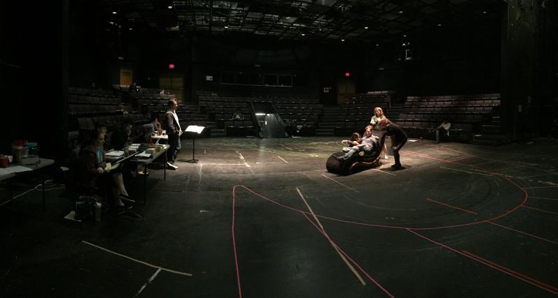 Director Daniel C. Dennis guides actors Monica Orozco, Basil Harris, Bri McCabe, and Eliza Dennis through blocking in Tantrum Theater's production of A Midsummer Night's Dream