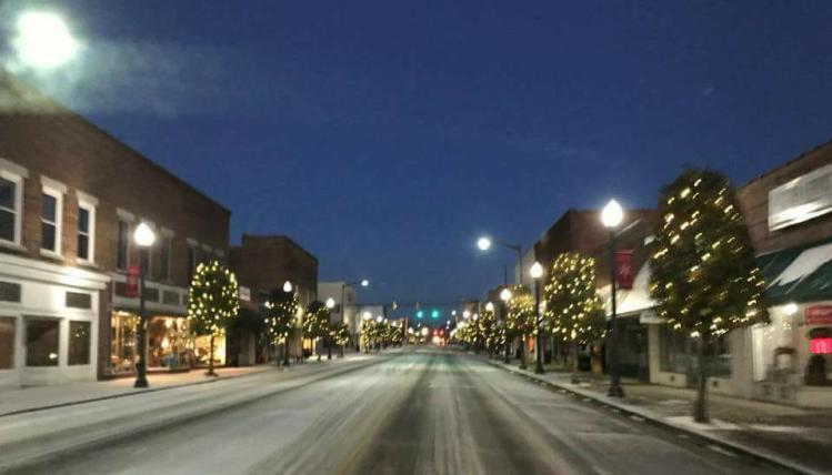 Town of Benson in snow