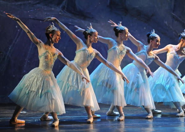 The Nutcracker dancers in a row a at McCarter Theatre Center