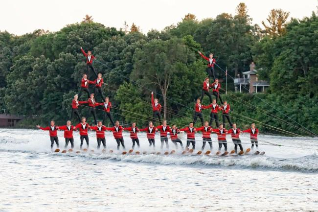 Ski Broncs Water Ski Show human pyramid