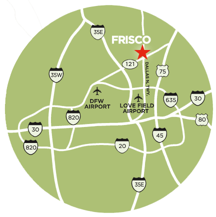 Travel distance and directions to Frisco from around the USA