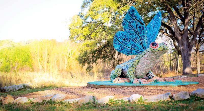 Frog sculpture in garden at Bee Cave Sculpture Park