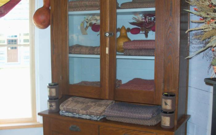 Antique Hutch with Textiles
