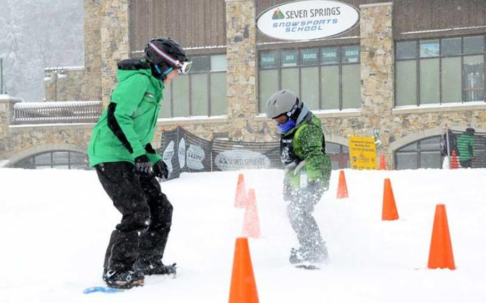 Tiny Tots' Snowboard lesson at Seven Springs