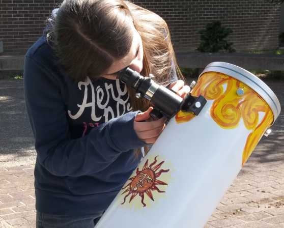 Visitors observe the sun during a Dudley Observatory event