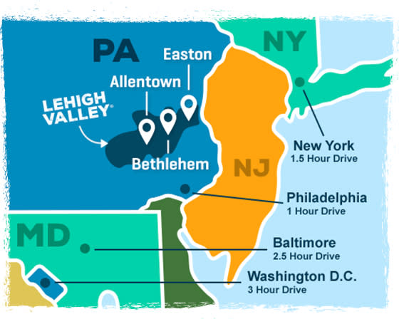 Lehigh Valley, PA Map