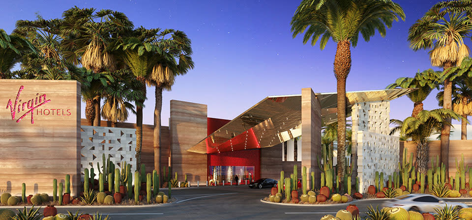 The Virgin Hotels location in Las Vegas features sleek mid-century inspired design and desert-friendly landscaping.
