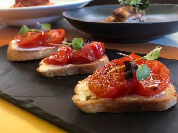 Crostini with Mascarpone Slow Roasted Tomato, Fresh Oregano