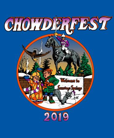 Chowderfest 2019 with drawing up people drinking chowder by Native Dancer in Saratoga Springs NY background royal blue