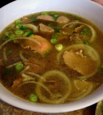 Bowl of hot soup from Huong Vietnamese Restaurant