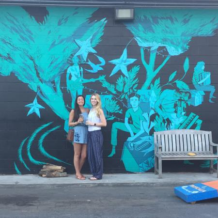 The bright blue mural at Creature Comforts brewery.