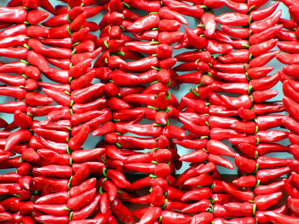 Spice up your mantle with a pepper garland.