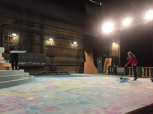 """Scenic Designer C. David Russell and Scenic Charge Cassandra Lentz work on the stage design for Tantrum Theater's production of """"A Midsummer Night's Dream"""""""