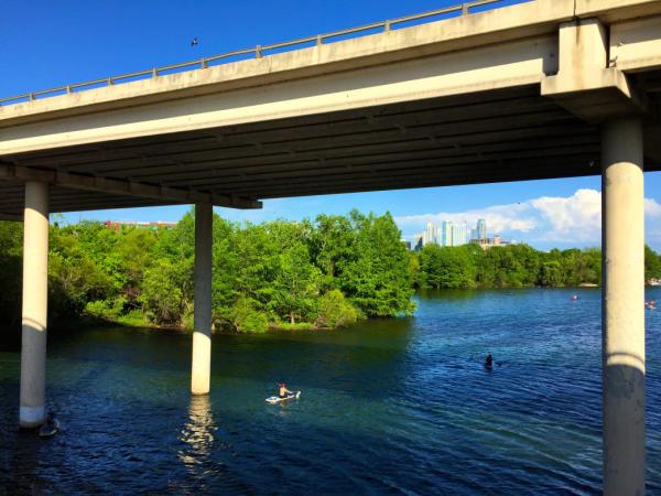 Kayaking on Lady Bird Lake with downtown skyline