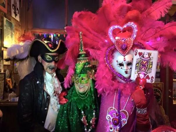 Fun Mardi Gras costumes at Zydeco's Cajun in Mooresville.