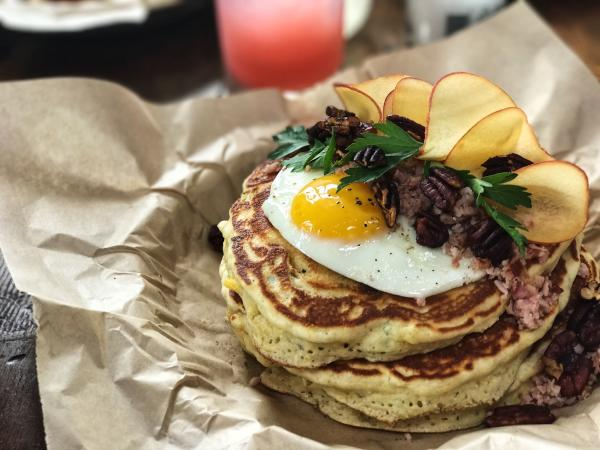 pancake with egg from holy roller in austin texas