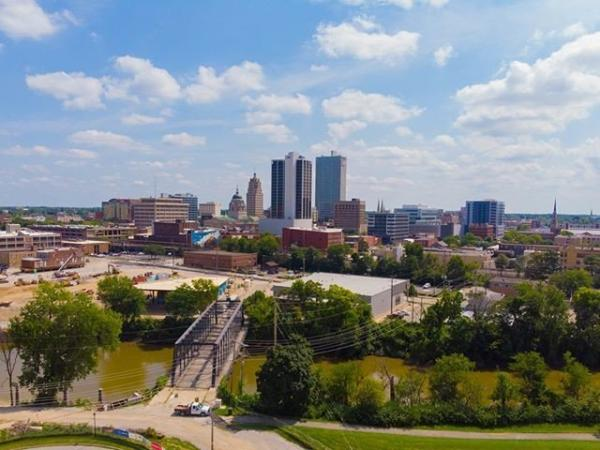 DO NOT USE Above the Fort Downtown Fort Wayne Skyline Aerial Photo from Riverfront #MyFortWayne Photo