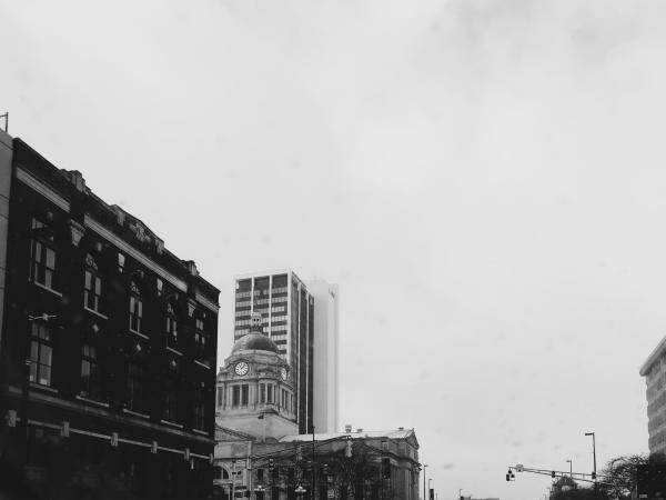 Grayscale photo of Downtown Fort Wayne, including Allen County Courthouse