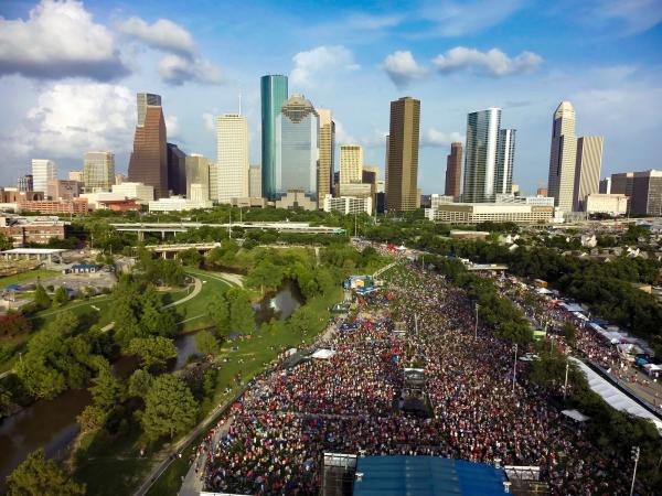 4th of July Festival aerial view of Texas