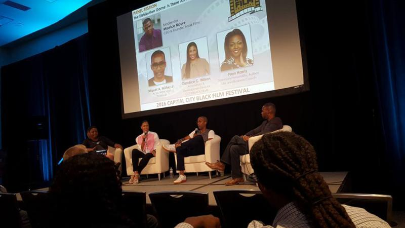 Miguel Nunez Candice C Wilson Maurice Moore and Fran Harris on a Panel at Capital City Black Film Festival