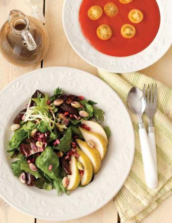 Fresh salad and soup