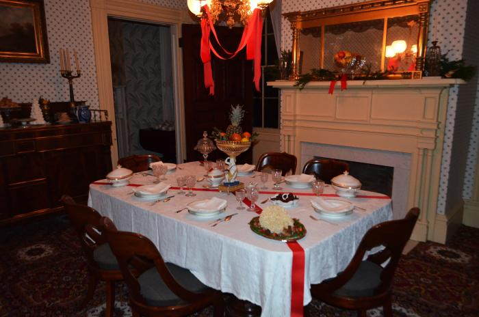 dining table set up for a 19th century style feast