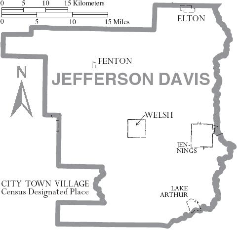 Map of Jefferson Davis Parish, with municipal labels