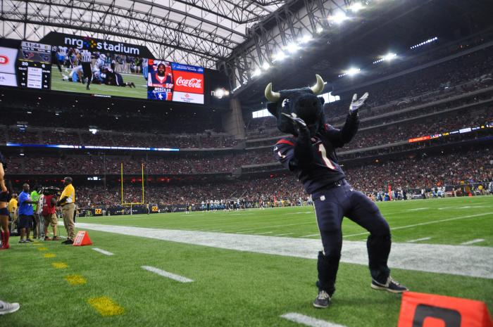 TORO mascot dancing at a Houston Texans game