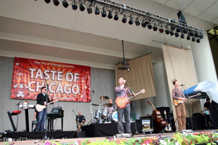 Band playing on stage at the Taste of Chicago event