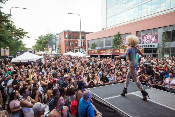 Crowd watching performance at Chicago's Pride Fest