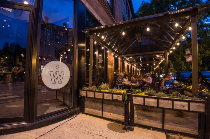 Wood Restaurant's patio dining in Chicago