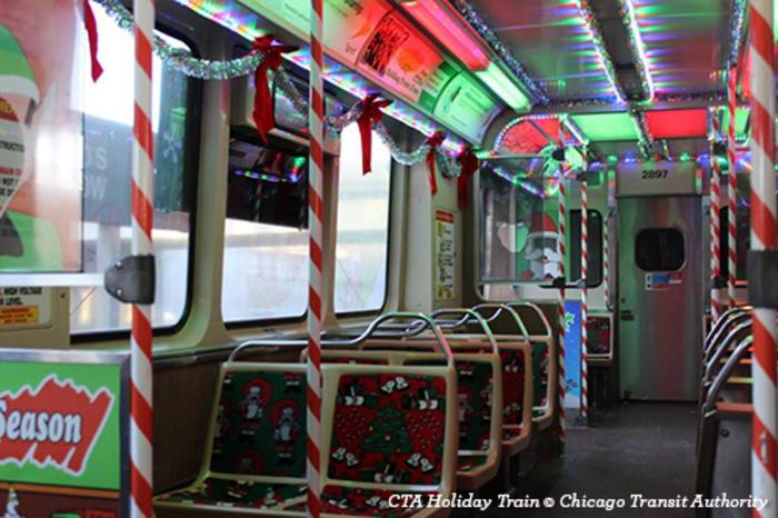 Interior of the CTA Holiday Train in Chicago
