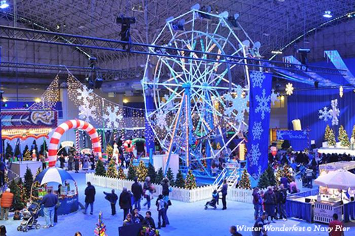 crowd at winter wonderfest at navy pier in chicago - Christmas Tree In Chicago